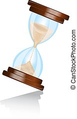 hourglass - shiny hourglass wooden frame with shadow on...