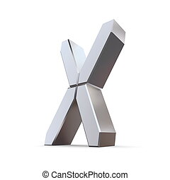 Shiny Letter X - LCD Look - shiny 3d letter C made of silver...