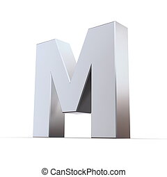 Shiny Letters M - shiny 3d letters M made of silver/chrome