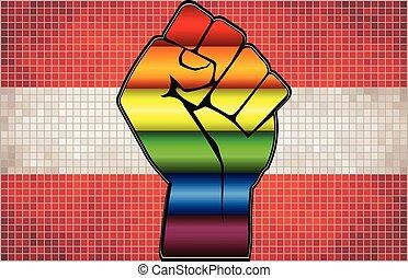 Shiny LGBT Protest Fist on a Austria Flag