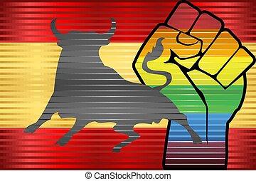 Shiny LGBT Protest Fist on a Spain flag