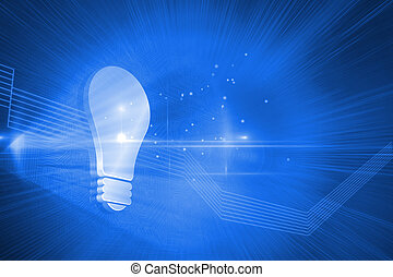 Shiny light bulb on blue background