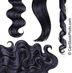 Shiny long black, fair straight and wavy hair curls - Set of...
