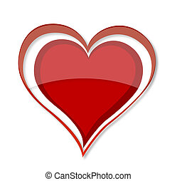 shiny love heart symbol red color