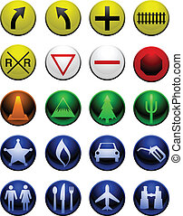 Shiny map icons - Traffic sign and map icon collection in...
