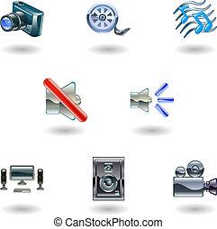 Shiny Media Icons - A set of shiny slossy media icons