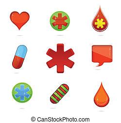 shiny medic symbols set isolated