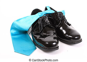 Shiny mens dressy shoes and blue tie - Mens shiny lace up...