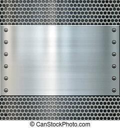 shiny metal plate on holed aluminium background