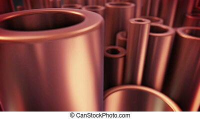Shiny metal copper pipes with selective focus effect - 3D...