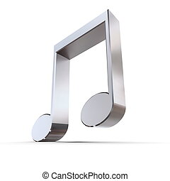 Shiny Metal Eighth Note - Quaver - shiny 3d eighth...