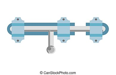 Shiny metal latch and blue loops isolated illustration -...