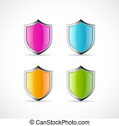 Shiny metal shield vector icon