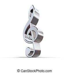 Shiny Metal Treble Clef - shiny 3d treble clef sign made of ...