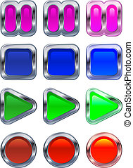 Shiny metallic glowing control panel buttons