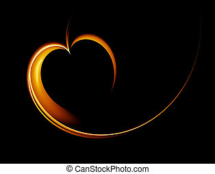 golden heart with copy space on a black background