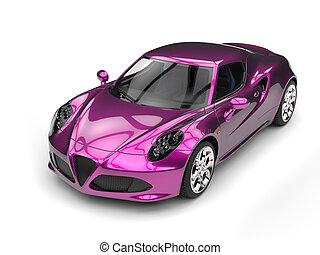 Shiny metallic magenta sports car