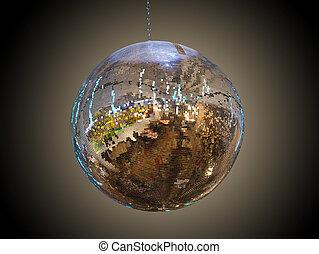 mirror ball on a dark background