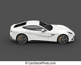 Shiny modern white fast concept car - top down side view