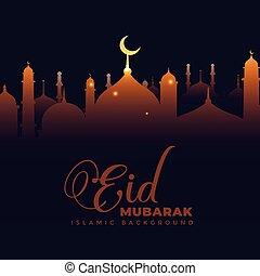 shiny mosque on dark background eid mubarak