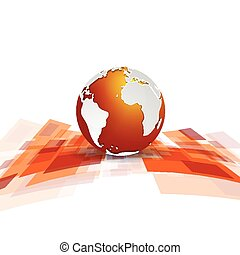 Shiny motion tech vector background with globe
