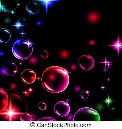 bubbles - shiny multicolored bubbles with stars