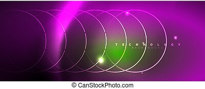 Shiny neon lines template - northern lights glowing blur lines. Futuristic style glow neon 80s disco club or night party techno template. Vector