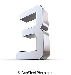 Shiny Number 3 - OCR Look - shiny 3d number 3 made of silver...