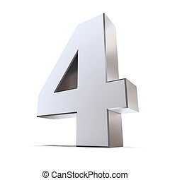 Shiny Number 4 - shiny 3d number 4 made of silver/chrome