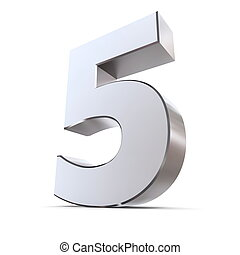 shiny 3d number 5 made of silver/chrome