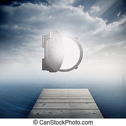 Shiny open safe in sky over ocean