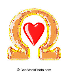 Shiny orange omega sign with a red heart in the center on a white background.