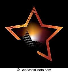 Shiny Orange Star with dots. Illustration for design on...