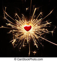 shiny passion - burning sparkler in the shape of a heart