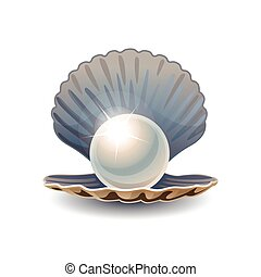 Shiny pearl in opened seashell. RGB EPS 10 vector ...