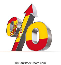 Shiny Percentage Sign Up - Flag of Spain - shiny metallic ...