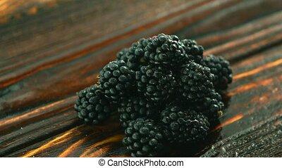 Shiny pile of fresh blackberry