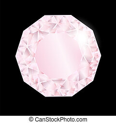 Shiny pink diamond. Vector