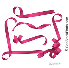 Shiny pink ribbon on white background.