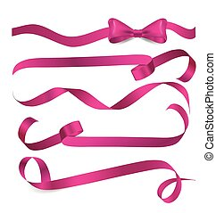 Shiny pink ribbon - Shiny pink ribbon on white background....
