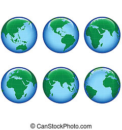 planet earth map - shiny planet earth map from six views; ...