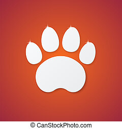 Shiny Plastic Trace of Cat on Orange Background
