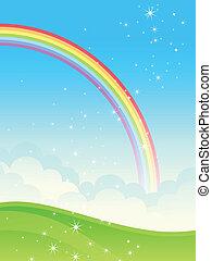 Shiny rainbow landscape. Vector illustration.