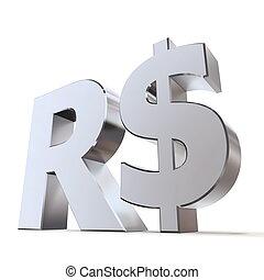 Shiny Real Symbol - shiny metal Real sign - silver/chrome...