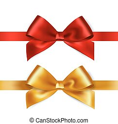 Shiny red and gold satin ribbon on white background