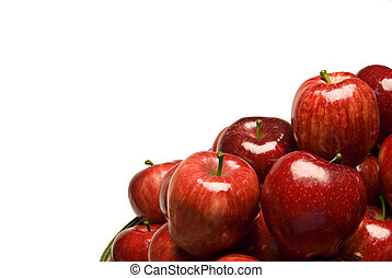 Shiny Red Apples On White With Copy Space