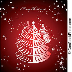 Shiny red background with Christmas tree. Vector