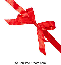 Shiny red bow and ribbon isolated on white background