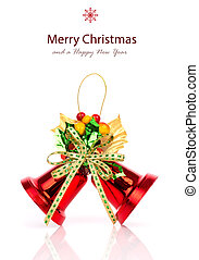 Shiny red Christmas bells decorated