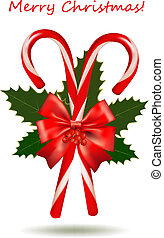 Shiny red Christmas candy cane with bow. Vector...